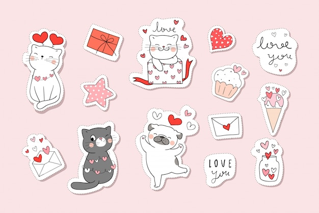 Draw collection stickers cat in valentine concept.doodle cartoon style. Premium Vector