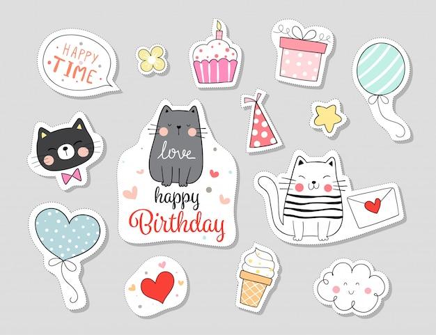 Нарисуйте коллекцию наклеек кошки с концепцией с днем рождения. Premium векторы