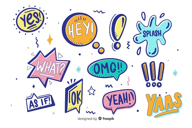 Draw of colorful speech bubbles Free Vector