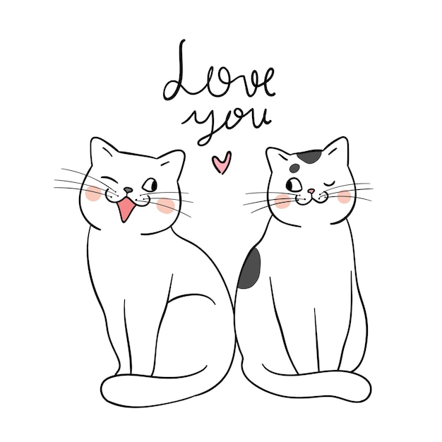 Draw Couple Of Cat And Word Love You Doodle Style Vector Premium