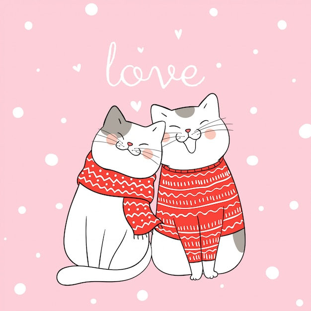Draw couple love of cat sitting in snow for christmas day. Premium Vector
