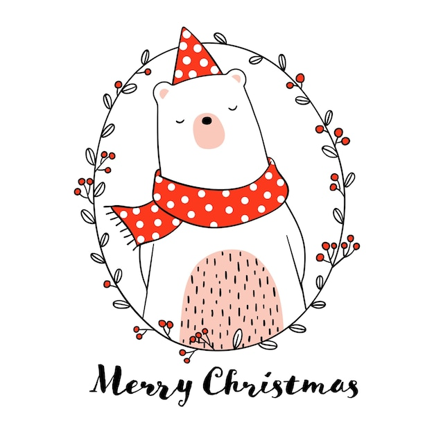 Draw Cute Bear In Wreath For Christmas Day Vector