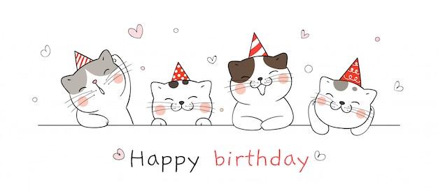 Нарисуйте милый кот на день рождения. Premium векторы