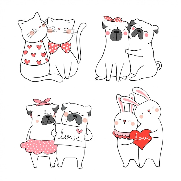Premium Vector Draw Cute Cat And Pug Dog For Valentine