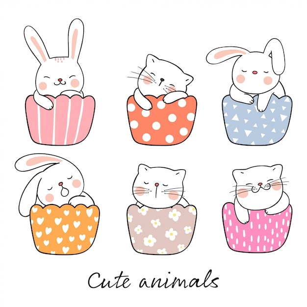 Draw cute cat and rabbit sleeping in cup cake Premium Vector