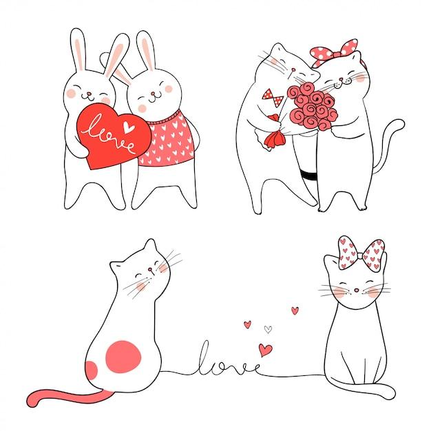 Draw cute cat and rabbit for valentine. Premium Vector