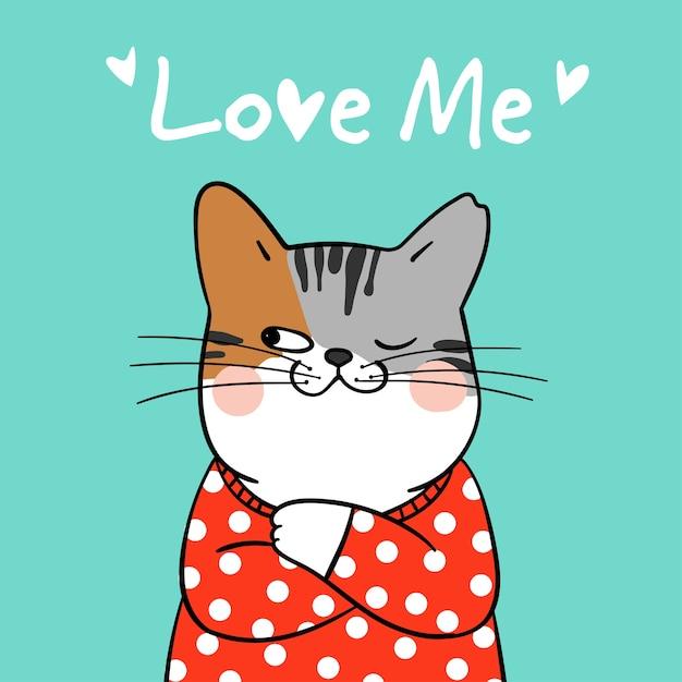 Draw Cute Cat And Word Love Me Vector Premium Download