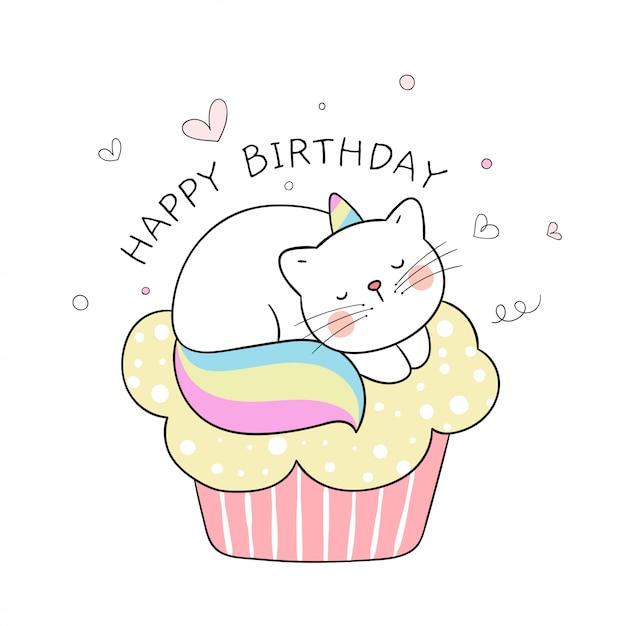 Draw cute caticorn sleeping on cupcake for birthday. Premium Vector