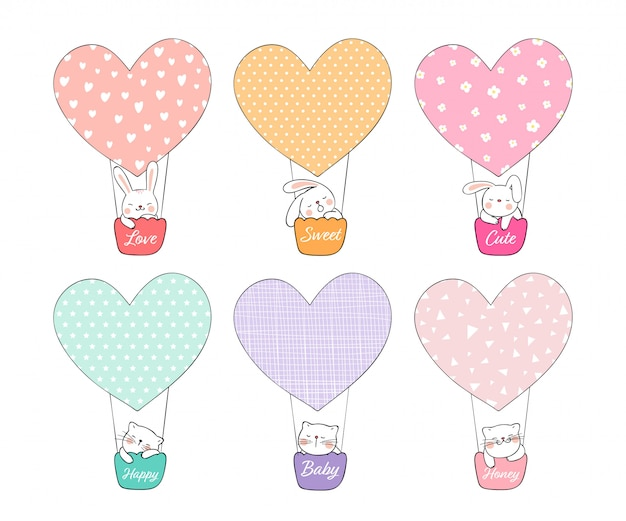 Draw Cute Rabbit And Cat In Balloon For Valentine Day Vector