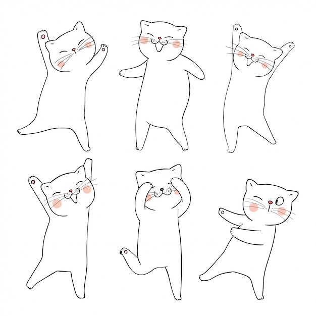 Draw doodle set outline of cat on white. Premium Vector