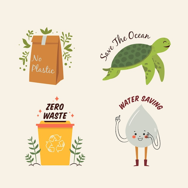 Draw of ecology badges collection Free Vector