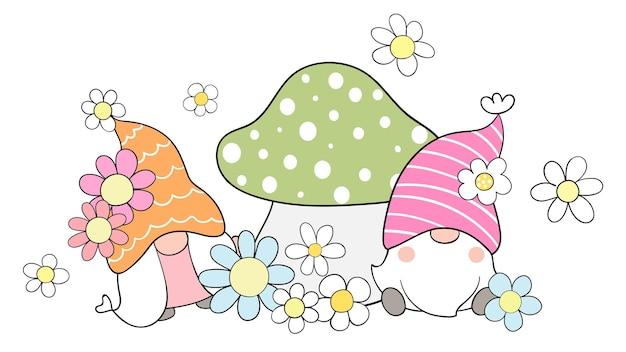 春の季節に花でノームを描く Premiumベクター