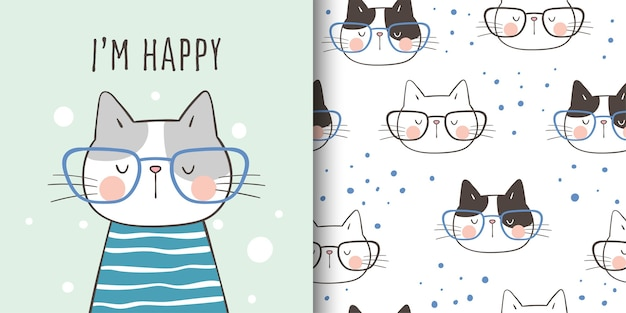 Draw greeting card and print pattern cat for kid Premium Vector
