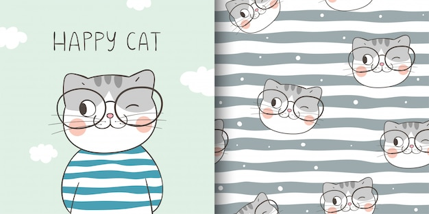 Draw greeting card and print pattern of happy cat. Premium Vector