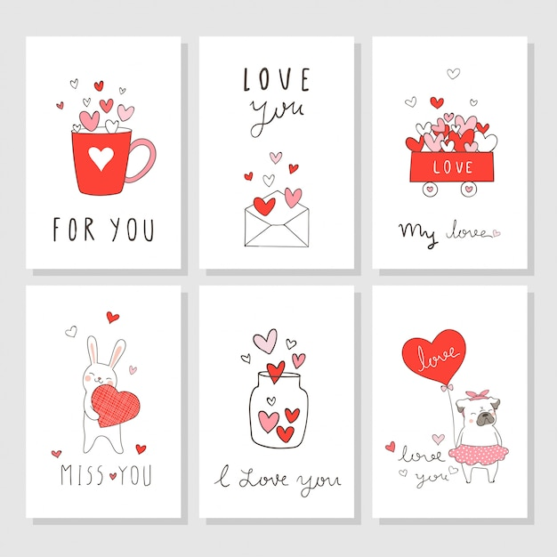 Draw greeting card for valentine's day with little heart Premium Vector