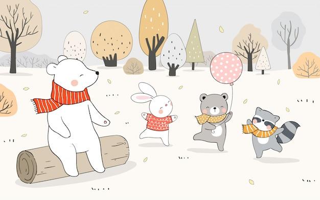 Нарисуйте счастливого животного, медведя, кролика, енота, играющего в лесу осенью. Premium векторы