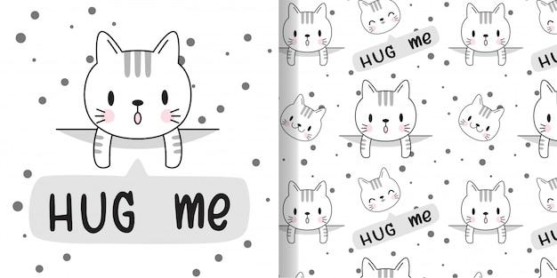 Нарисуй счастливого кота. печать бесшовные модели и открытки для текстильных тканей детей. Premium векторы