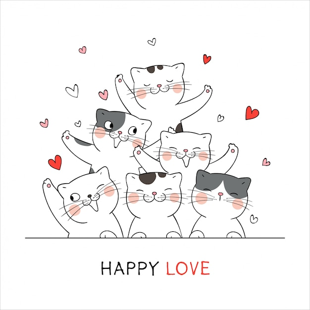 Draw happy cat with little heart for valentine's day love concept. Premium Vector