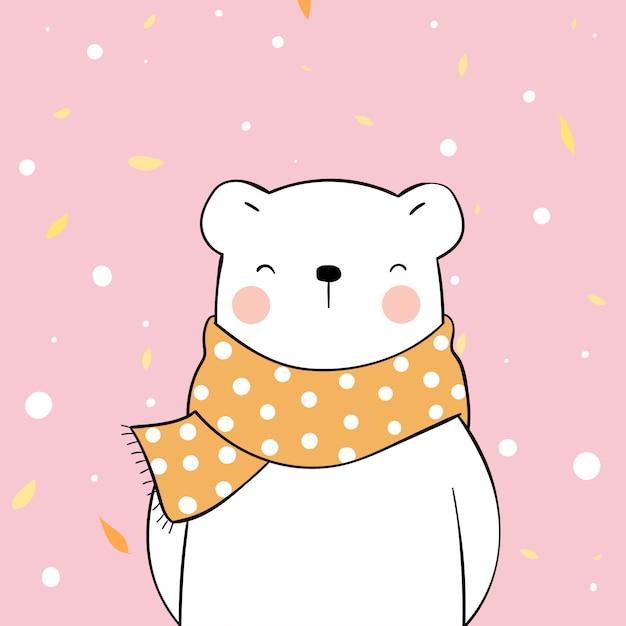 秋の美容スカーフで幸せなホッキョクグマを描きます。 Premiumベクター