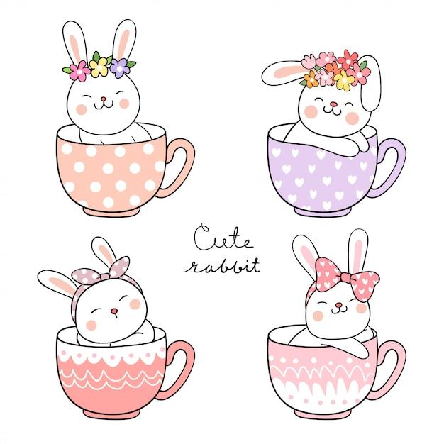 Draw happy rabbit with flower on head sleeping in cup of tea Premium Vector