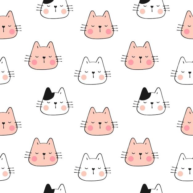 猫のパターンパステルカラーの顔を描きます。落書きスタイル。 Premiumベクター