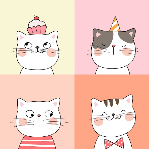 e0375713e7b98 Draw portrait of cute cat on pastel color doodle style. Vector ...