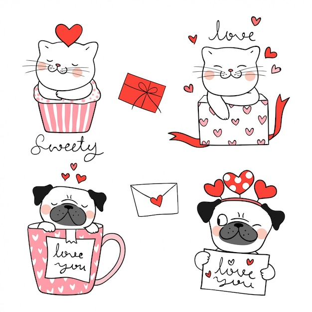 Draw portrait cute cat and pug dog for valentine. Premium Vector