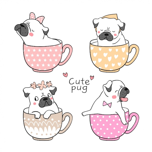 Draw pug dog in cup of tea Premium Vector