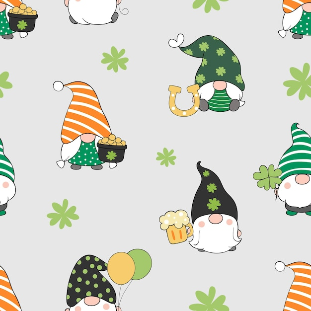 Draw seamless gnome for st patrick day Premium Vector