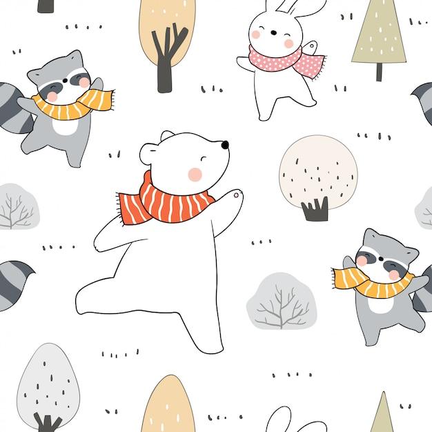 秋の森でシームレスなパターンの動物を描きます。 Premiumベクター