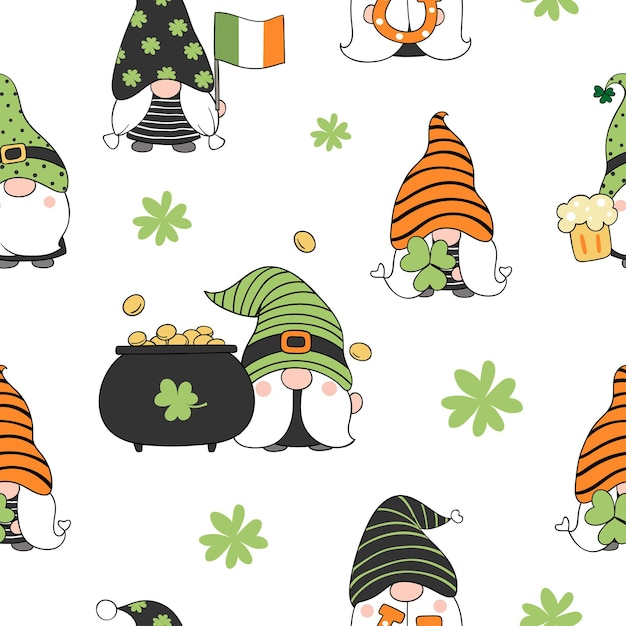 Draw seamless pattern background gnome for st patrick day doodle style Premium Vector