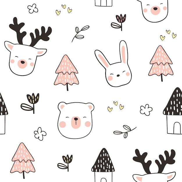 Draw seamless pattern background head animal Premium Vector