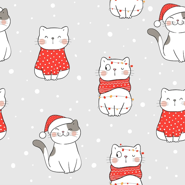 겨울 크리스마스 원활한 패턴 고양이를 그립니다. 프리미엄 벡터