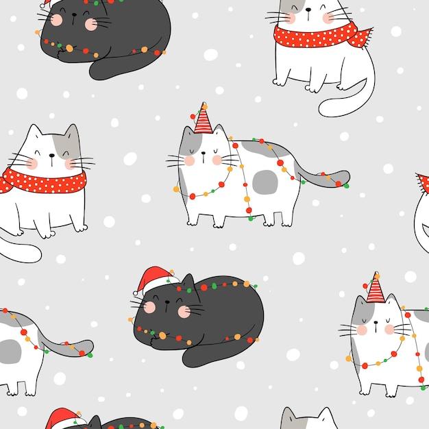 クリスマスのために雪の中でシームレスなパターンの猫を描きます。 Premiumベクター