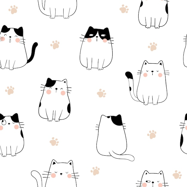 Нарисуйте бесшовные модели кота с лапой для печати. Premium векторы