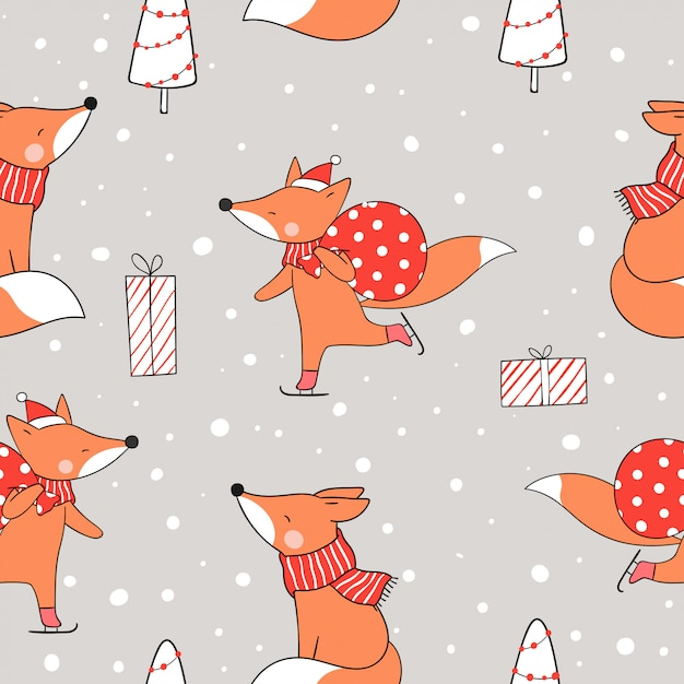 Draw seamless pattern fox in snow for christmas. Premium Vector