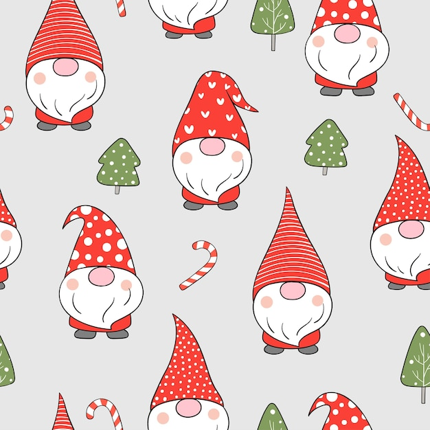冬のクリスマスのために雪の中でシームレスなパターンのノームを描きます。 Premiumベクター