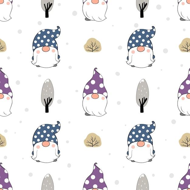 Нарисуйте бесшовные модели гнома со снегом на белом для зимы. Premium векторы