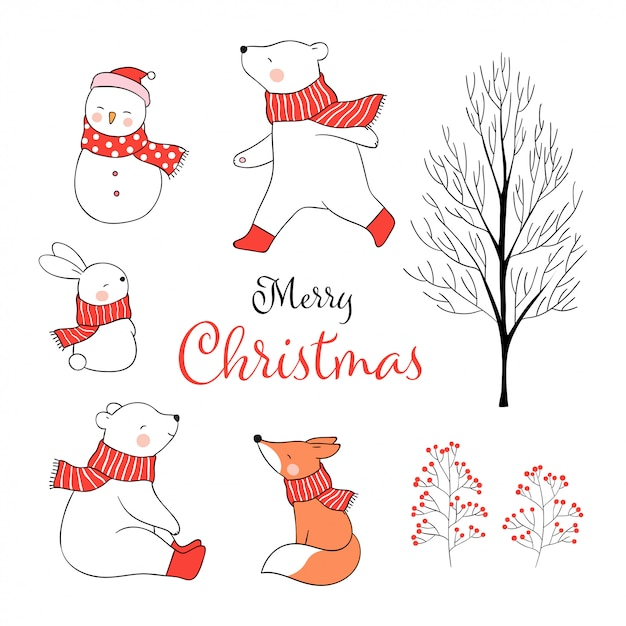 Draw set animal for christmas day in winter and new year. Premium Vector
