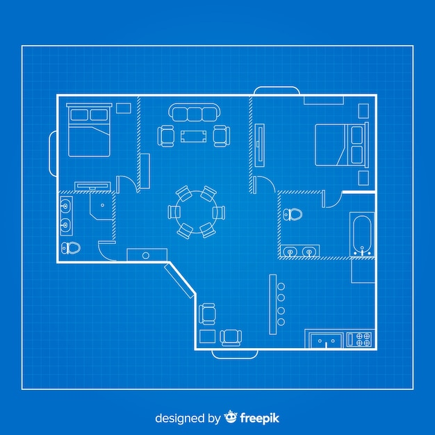 Draw sketch of home on blueprint Free Vector