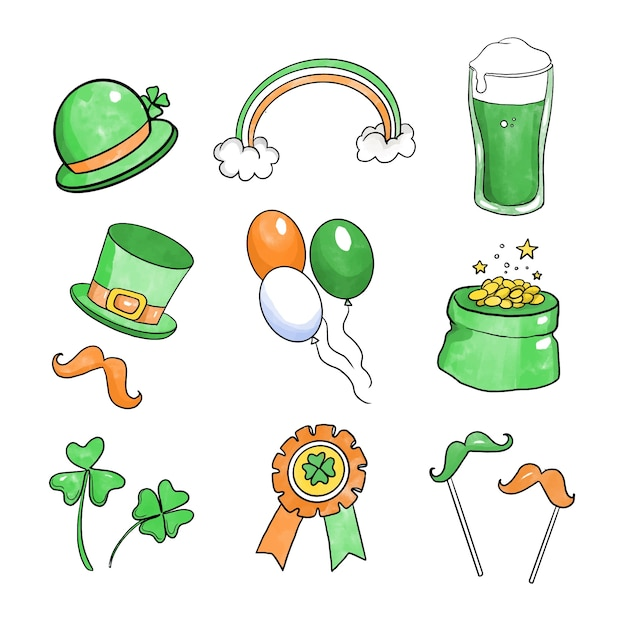 Free Vector Draw Of St Patricks Day Element Collection