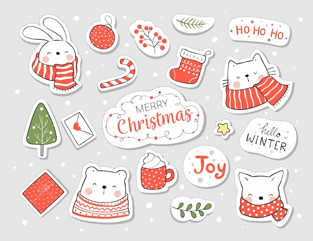 Draw stickers animal and element for christmas and new year. Premium Vector
