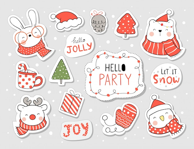 Draw stickers funny animal and element for christmas and new year. Premium Vector