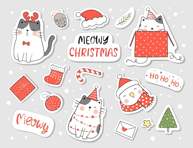 Draw stickers happy cat and element for christmas and new year Premium Vector