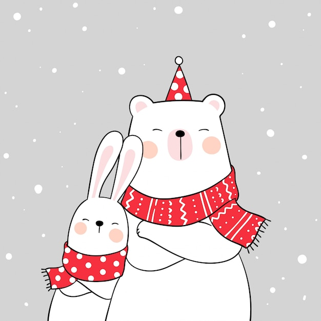 Draw white bear and rabbit with beauty scarf in snow for winter Premium Vector