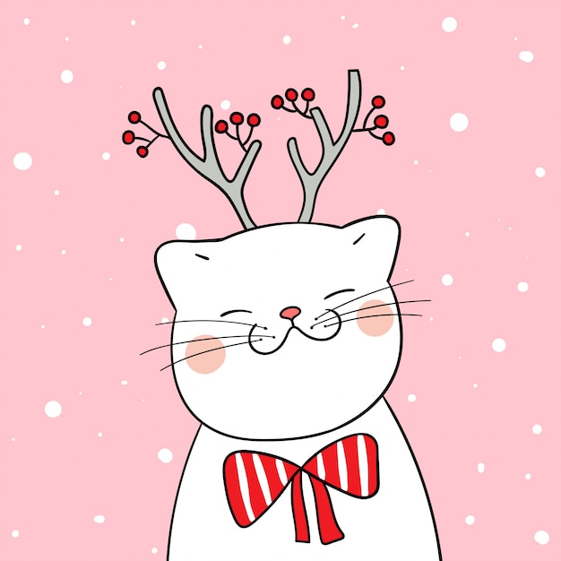 Draw white cat with beauty scarf in snow for winter season Premium Vector