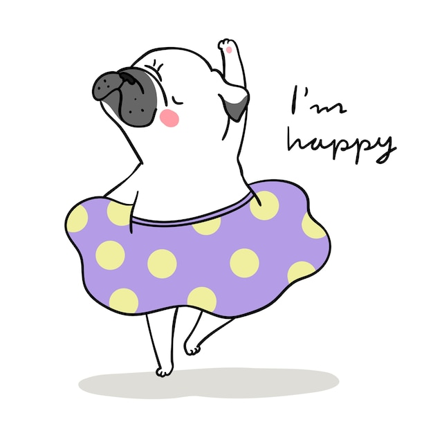 Draw white pug dog dancing and word i'm happy Premium Vector