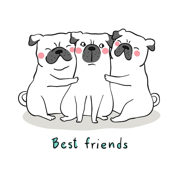 Draw white pug dog hug with love and word best friend Premium Vector