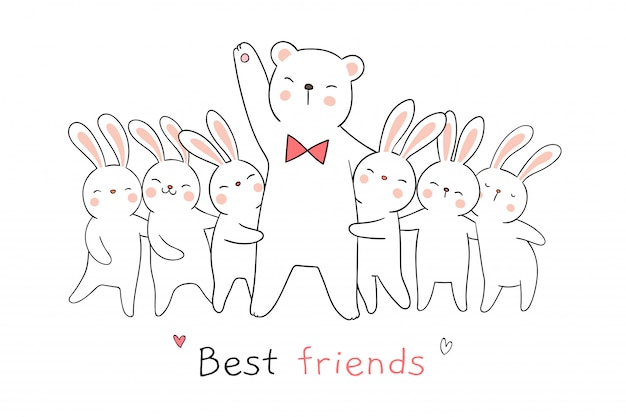 Draw white rabbit and bear hug and word best friends. Premium Vector