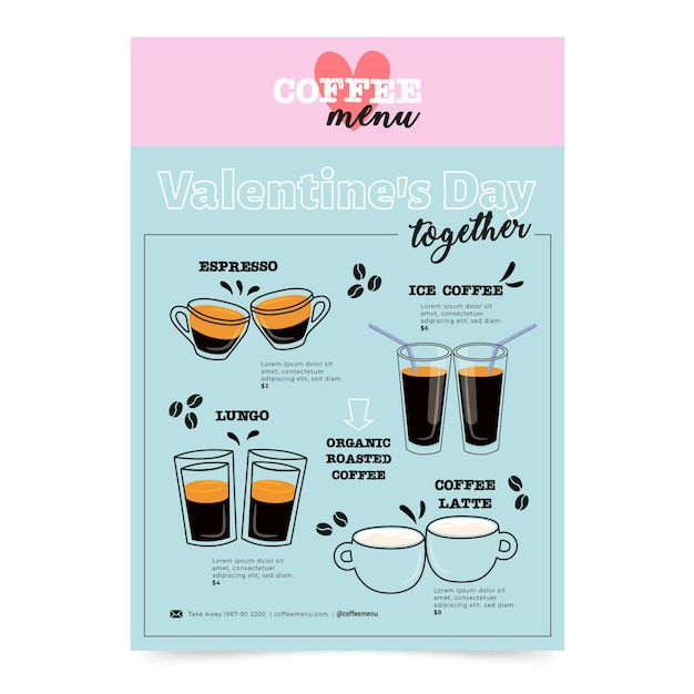 Draw with valentines day menu Free Vector